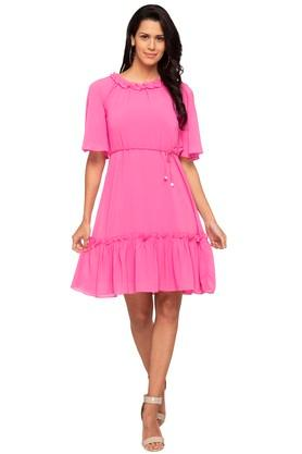 Womens Ruffled Collar Solid Flared Dress