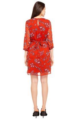 Womens Key Hole Neck Printed Flared Dress