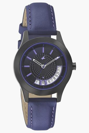 Womens Black Dial Leather Strap Watch - 6165NL01