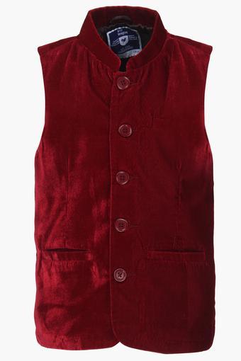 Boys Mandarin Neck Solid Nehru Jacket