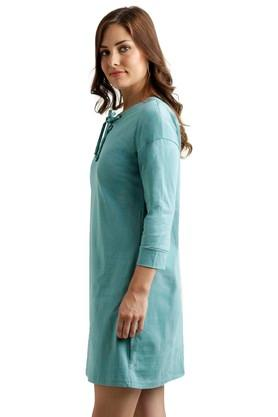 Womens Tie Up Neck Assorted Shift Dress