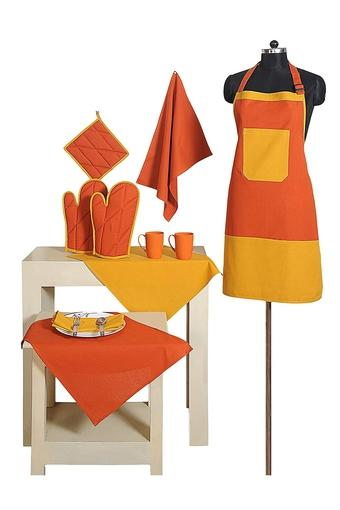 Colour Block Apron with Pot Holder Oven Mitts and Napkins Combo