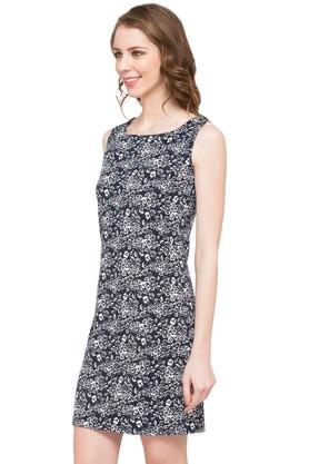 Womens Square Neck Printed Shift Dress