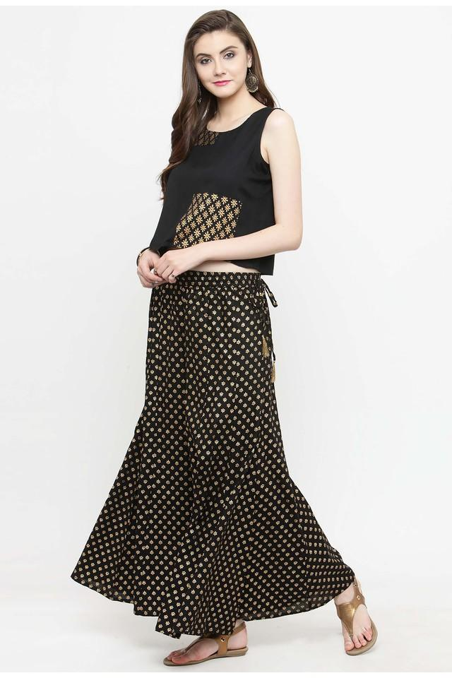 Womens Round Neck Printed Palazzo and Top Set