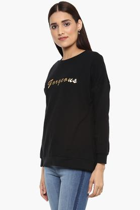 Womens Round Neck Printed Sweatshirt