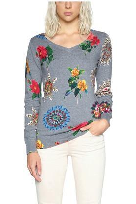 DESIGUALWomens V- Neck Floral Print Pullover - 203850084_9308