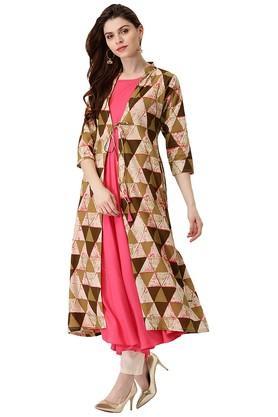 Womens Cotton Printed Anarkali Kurta With Long Jacket