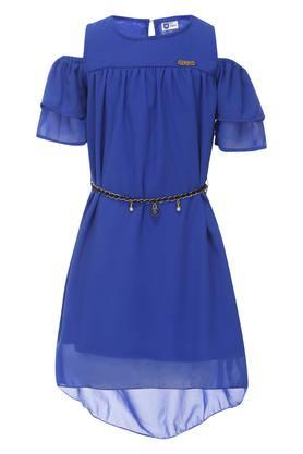 Girls Round Neck Solid A-Line Dress