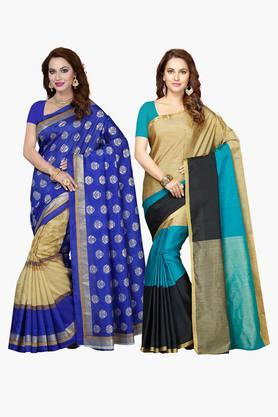 ISHIN Womens Bhagalpuri Art Silk Printed Saree - Set Of 2 - 203260392