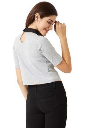 Womens Peter Pan Collar Solid Boxy Crop Top