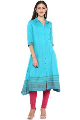 Womens Collared Embroidered Kurta