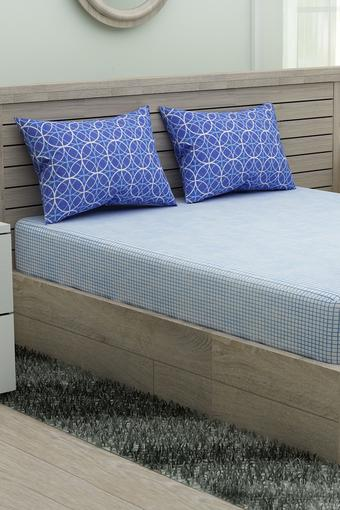 Buy Portico Geometric Printed Double Fitted Bed Sheet With Pillow