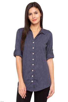 Womens Mandarin Neck Slub Shirt