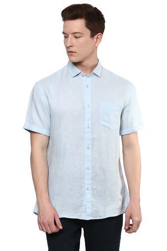 Mens Straight Fit Slub Casual Shirt