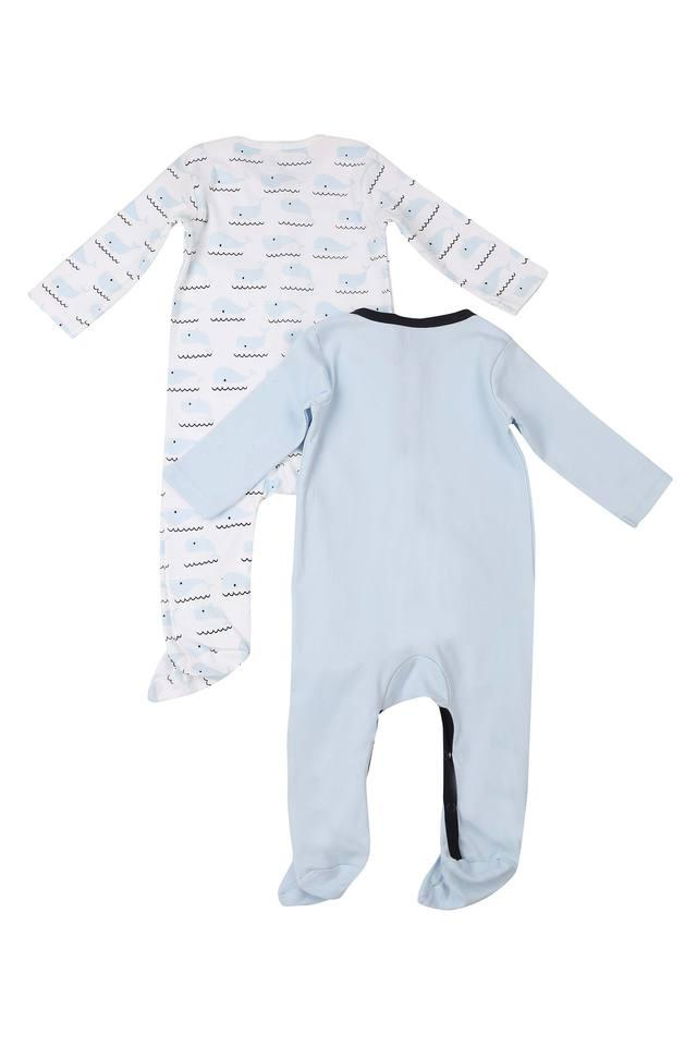 Boys Round Neck Printed Sleepsuits - Pack Of 2