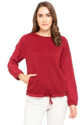 ELLE Womens Round Neck Self Pattern Sweatshirt