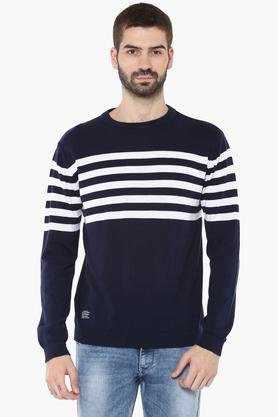 PEPE Mens Round Neck Striped Sweater