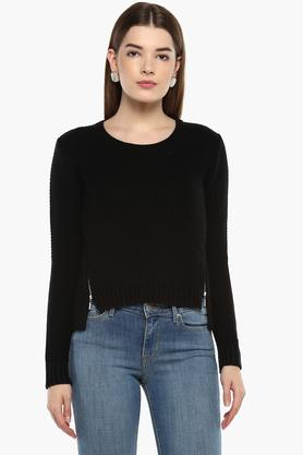 ELLE Womens Round Neck Solid Sweater
