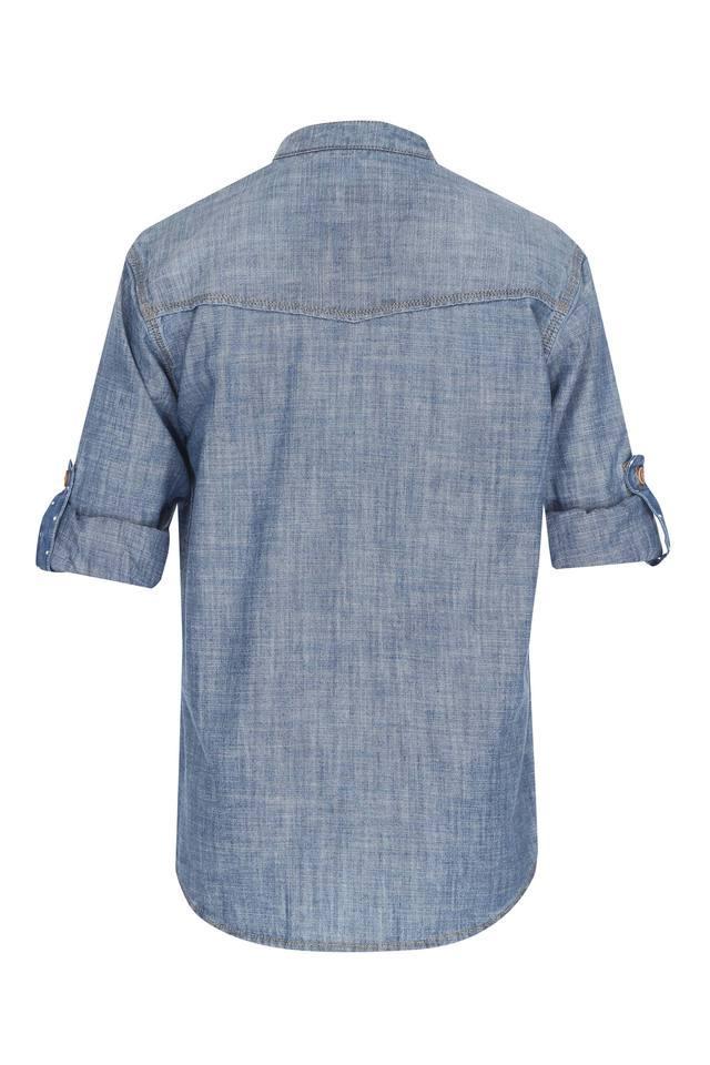 Boys Mandarin Neck Slub Shirt