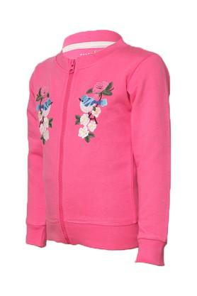 Girls Zip Through Neck Embroidered Sweatshirt