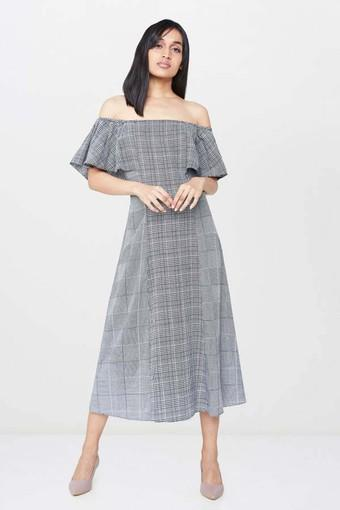 Womens Off Shoulder Check Midi Dress