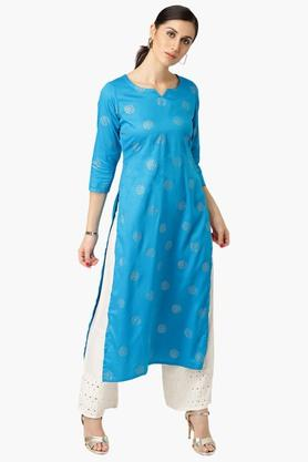 LIBAS Womens Round Neck Printed Straight Fit Kurta