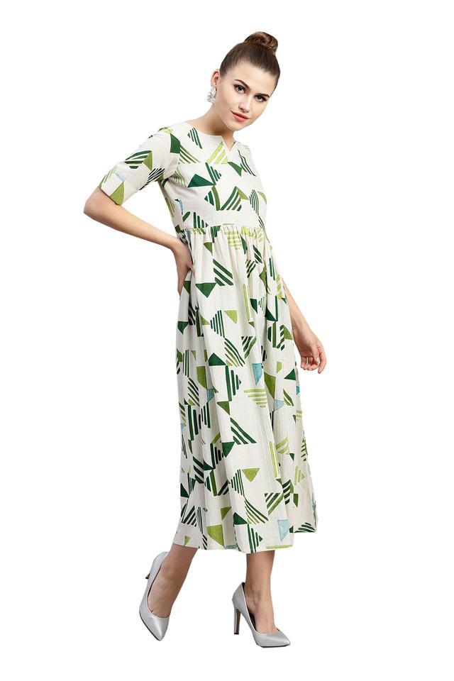Womens Notched Neck Printed Calf Length Dress