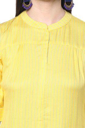 Womens Mandarin Collar Striped Tunic