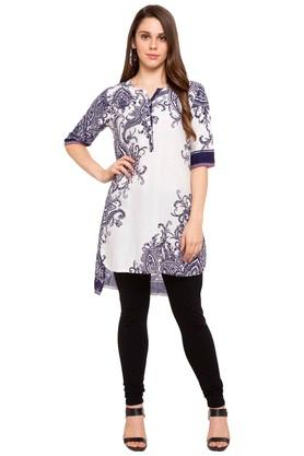 Womens Notched Neck Printed Tunic