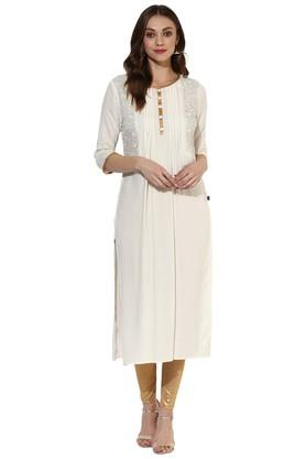 JUNIPER Womens Rayon Long Kurta With Round Neck