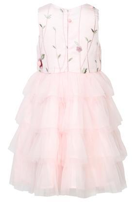 Girls Round Neck Embroidered Flared Dress
