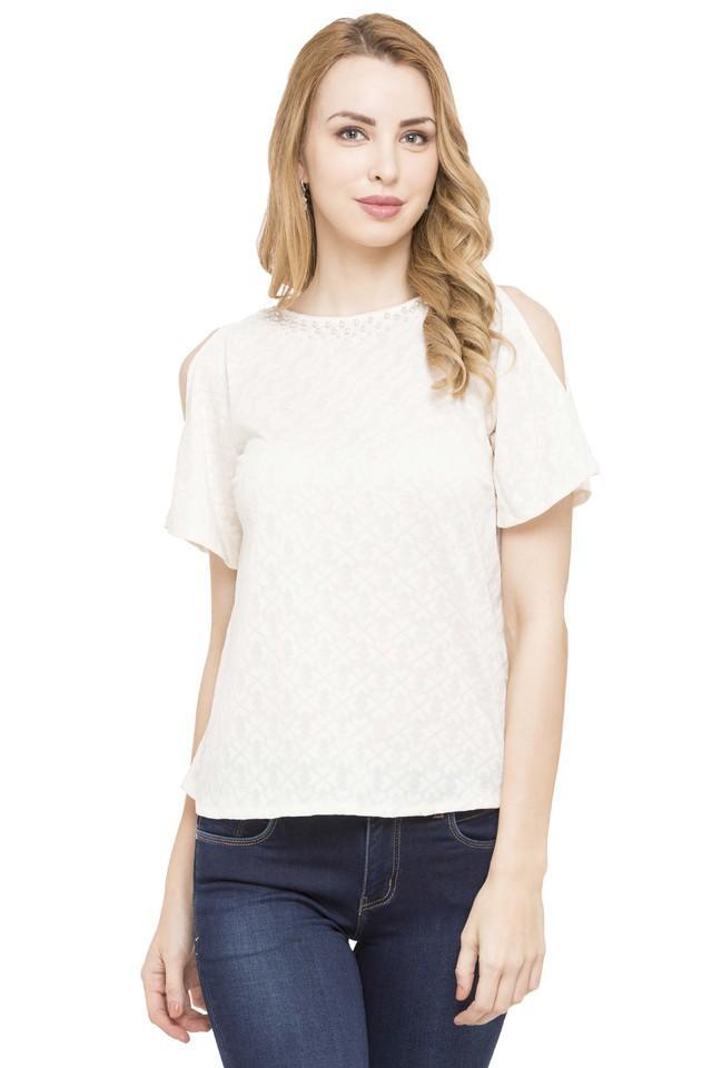 Womens Cold Shoulder Sleeves Self Pattern Top