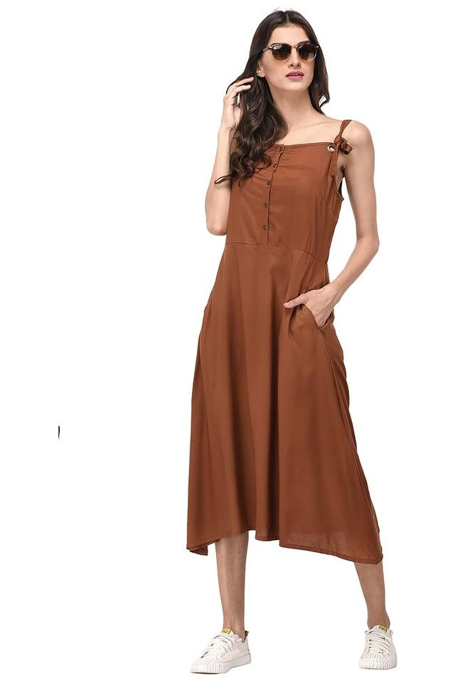 Womens Spaghetti Neck Solid Midi Dress