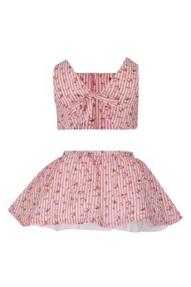 Girls Square Neck Floral Print Top and Skirt Set