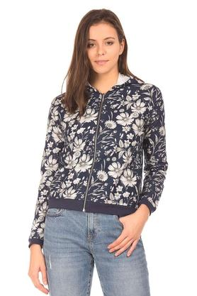 Womens Hooded Neck Printed Jacket