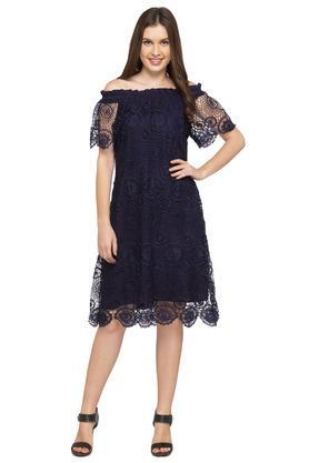Womens Off Shoulder Neck Lace A-Line Dress