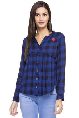 Womens Mandarin Neck Checked Casual Shirt