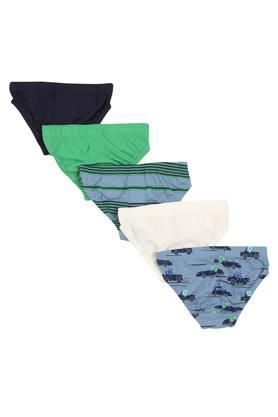 Boys Stripe Printed and Solid Briefs Pack of 5