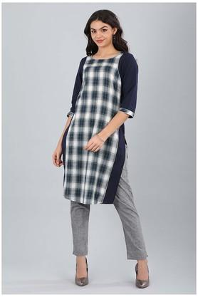 Womens Round Neck Checked Kurta