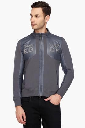 ED HARDYMens Zip Through Neck Colour Block Sweatshirt