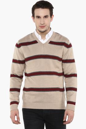 WILLS LIFESTYLEMens V Neck Stripe Sweater - 202979709