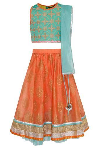 Girls Round Neck Assorted Ghaghra Choli and Dupatta Set