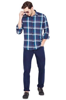 Mens Regular Fit Checked Casual Shirt
