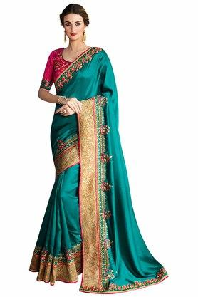 VRITIKA Womens Rama Satin Silk Embroidered Saree With Blouse