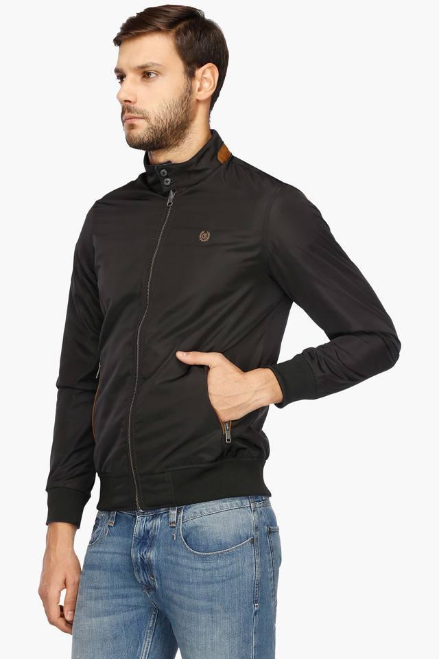 Mens Band Collar Solid Reversible Jacket