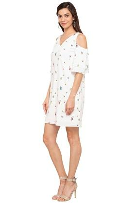 Womens V-Neck Printed Shift Dress