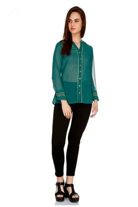 Womens Mandarin Neck Embroidered Shirt