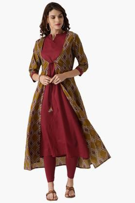 LIBAS Womens Cotton A Line Printed Kurta With Jacket