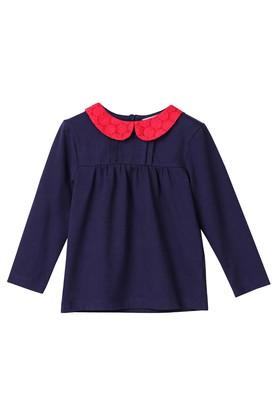Girls Peter Pan Collar Solid Top