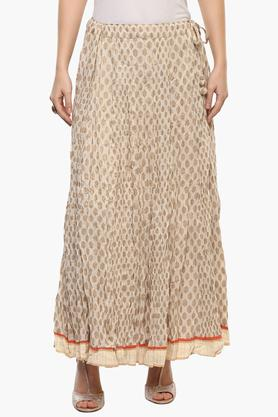 RANGRITI Womens Printed Long Skirt